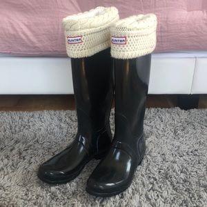 Hunter rain boots with Hunter socks